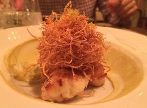 CURSO 2: cavaquinha (crustáceo) com purê de pistache e crocante de palmito pupunha!
